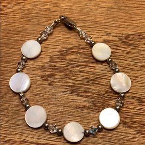 Mother of pearl/glass crystal/sterling silver
